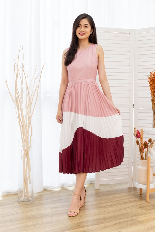 Krissy Tiered Colours Pleated Maxi Dress in Pink