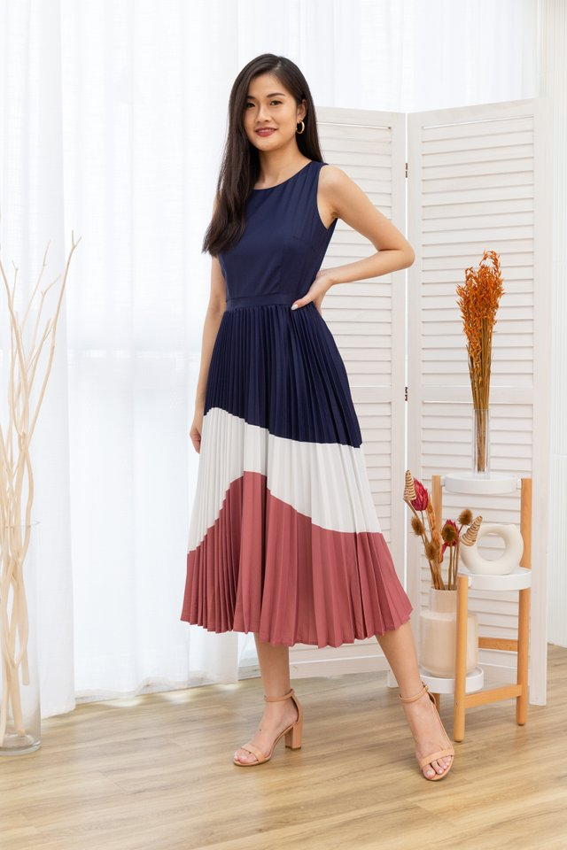 Krissy Tiered Colours Pleated Maxi Dress in Navy Blue