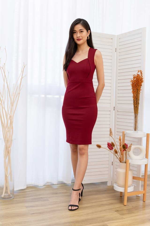 Kaelene Sweetheart Pencil Dress in Wine