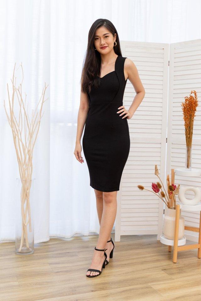 Kaelene Sweetheart Pencil Dress in Black