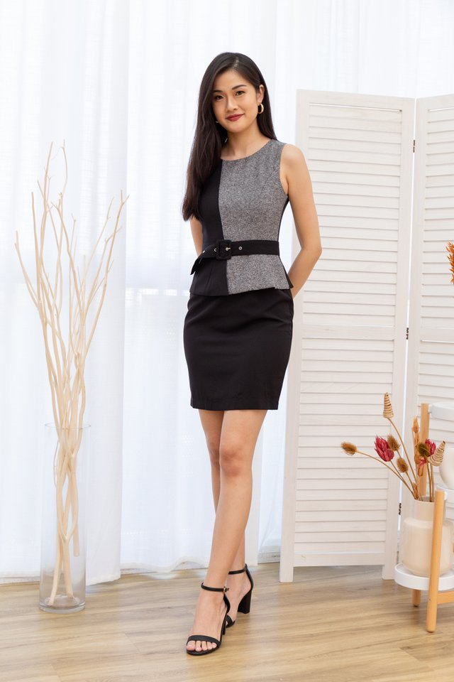 Mavis Peplum Work Dress in Black/Grey