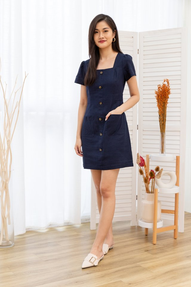 Marie Button Front Square Neck Dress