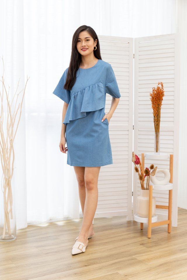 Noelle Ruffles Front Denim Dress