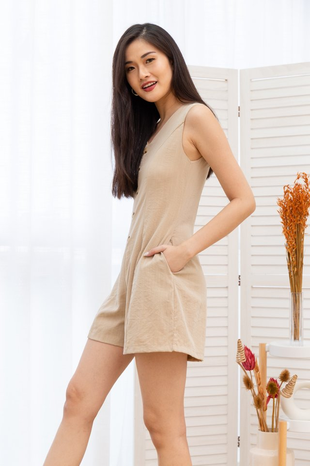 Clementine Sleeveless Button Front Romper in Nude