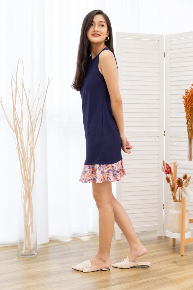Amelie Sleeveless Floral Print Ruffle Hem Dress in Navy /Pink