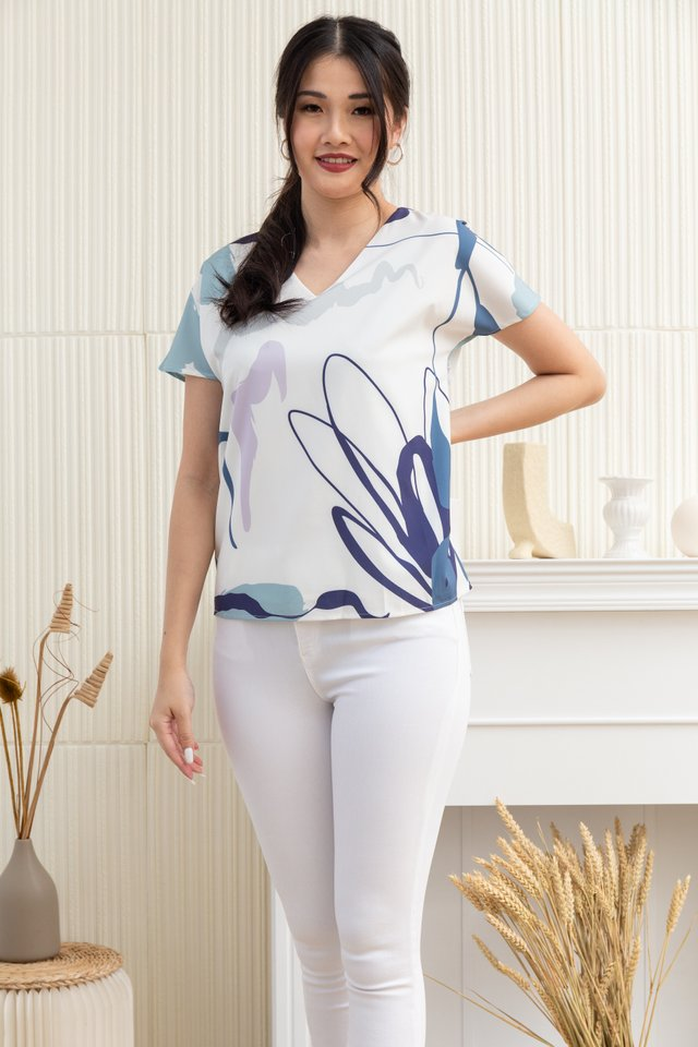 Elena Abstract V-Neck Top in White/Blue