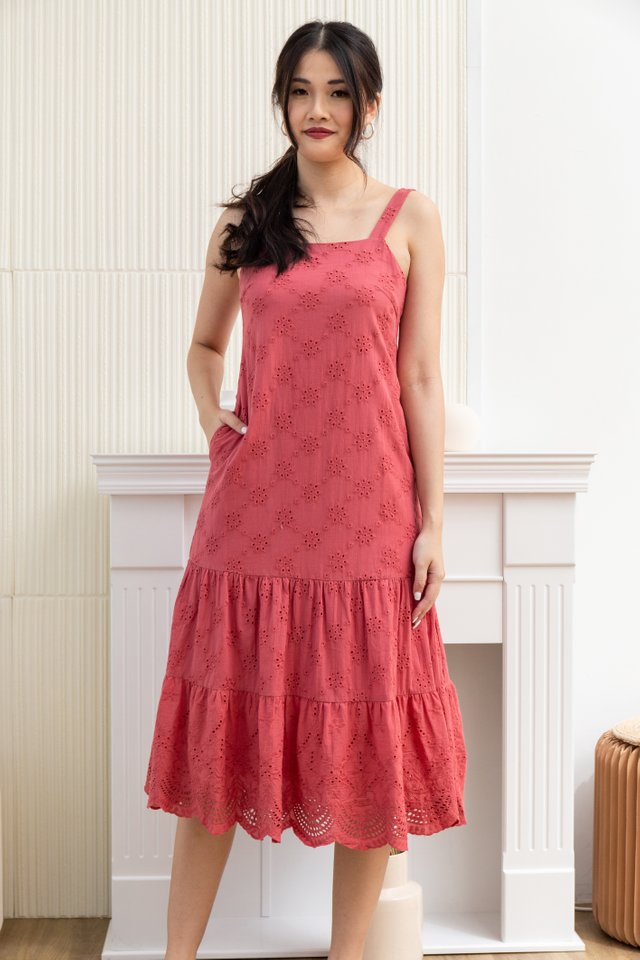 Maia Square Neck Eyelet Midi Dress in Tea Rose