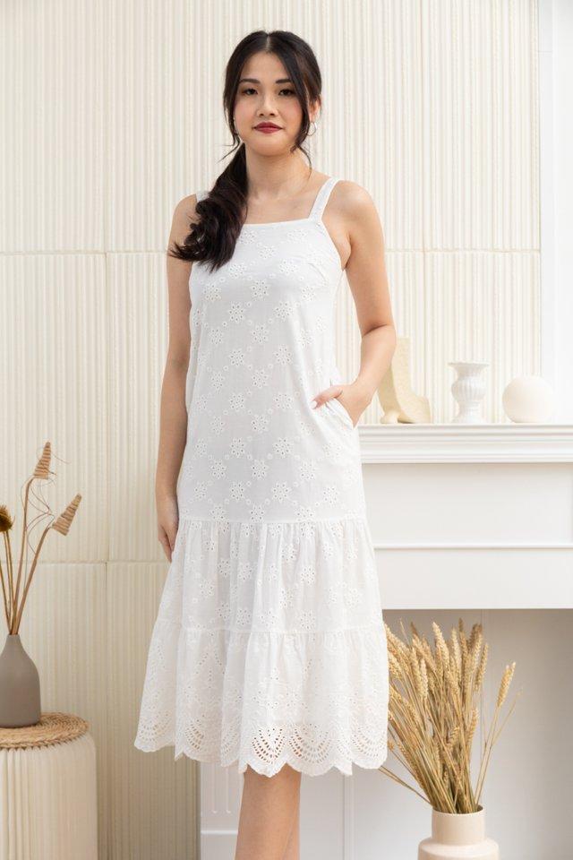 Maia Square Neck Eyelet Midi Dress in White