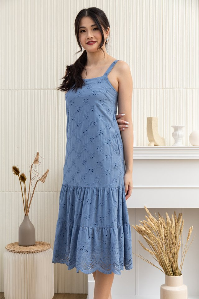 Maia Square Neck Eyelet Midi Dress in Blue