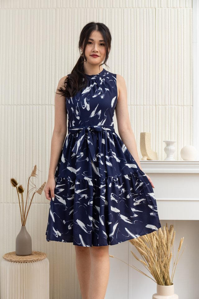 Nevaeh Paint Brush Print Sleeveless Dress in Blue