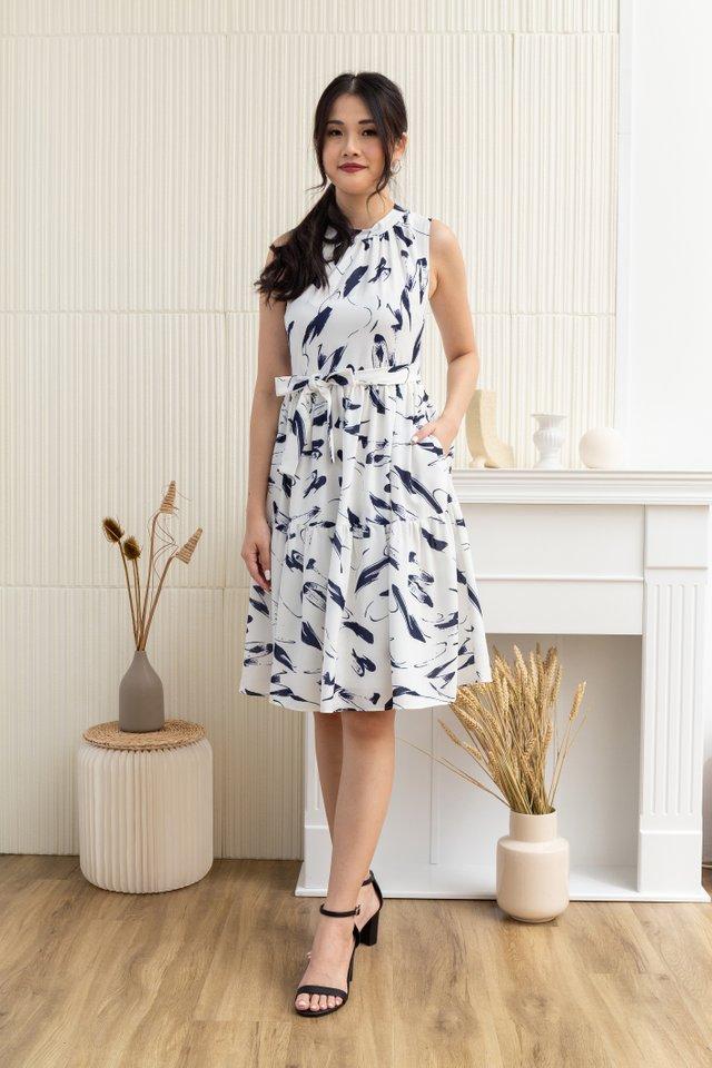 Nevaeh Paint Brush Print Sleeveless Dress in White