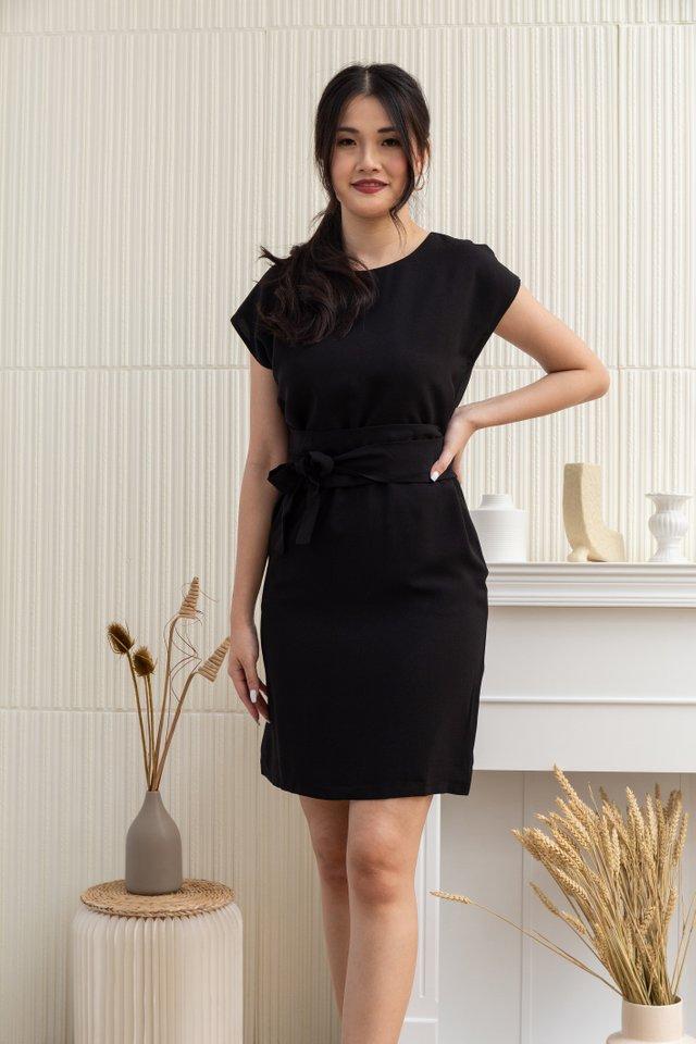 Jaliyah Round Neck Obi Sash Dress in Black