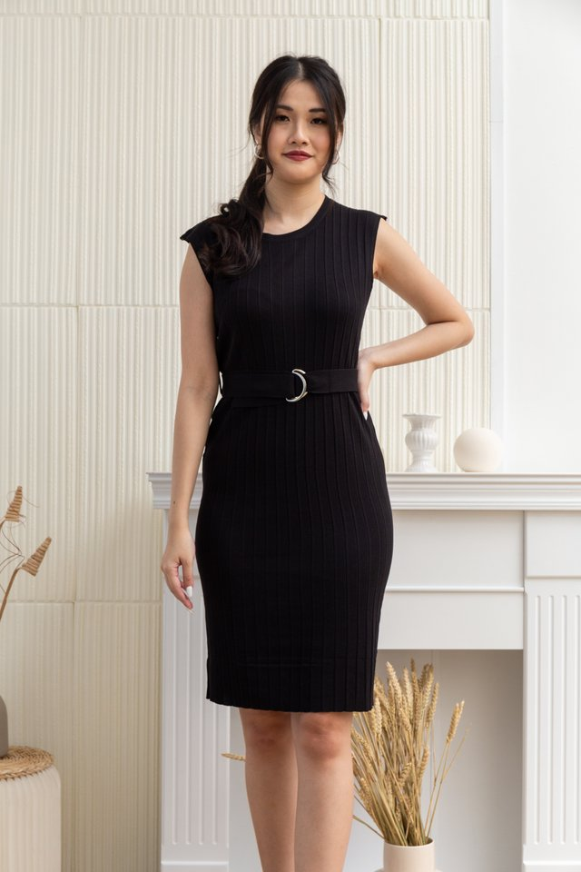 Azalea Ribbed Knit Dress in Black