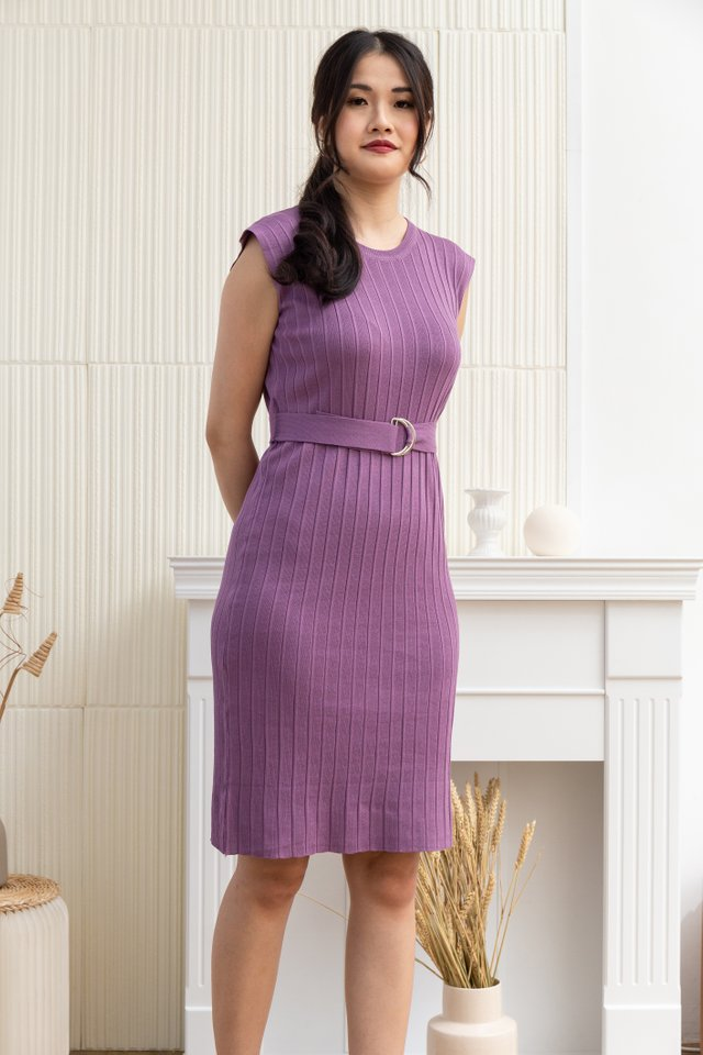 Azalea Ribbed Knit Dress in Violet