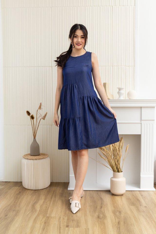 Ensley Tiered Sleeveless Dress in Denim Blue
