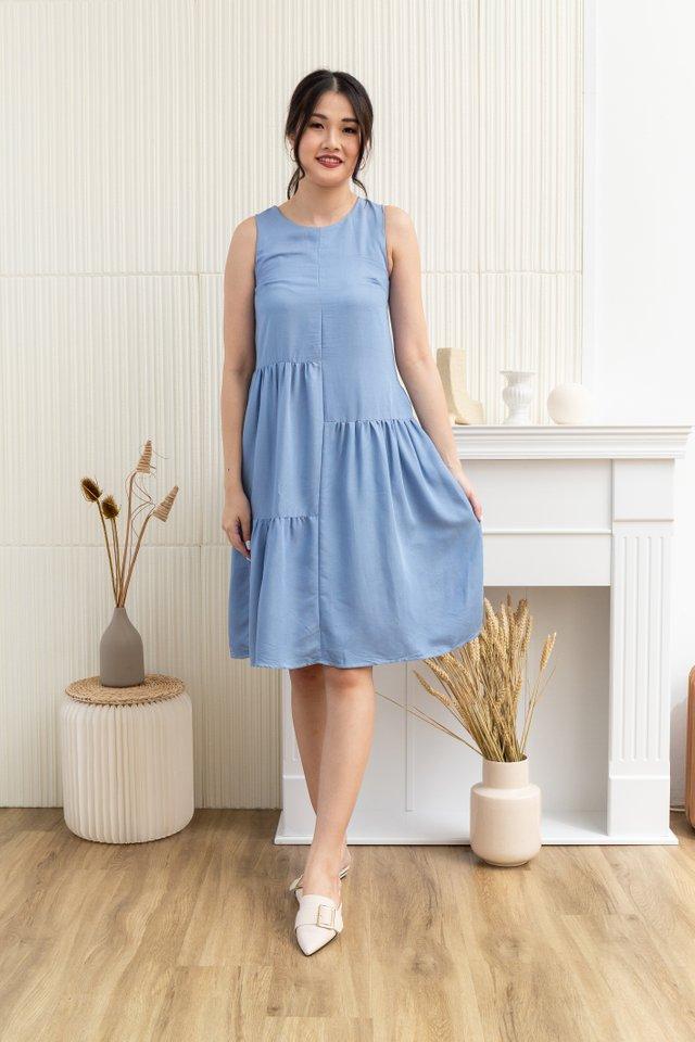 Ensley Tiered Sleeveless Dress in Light Blue