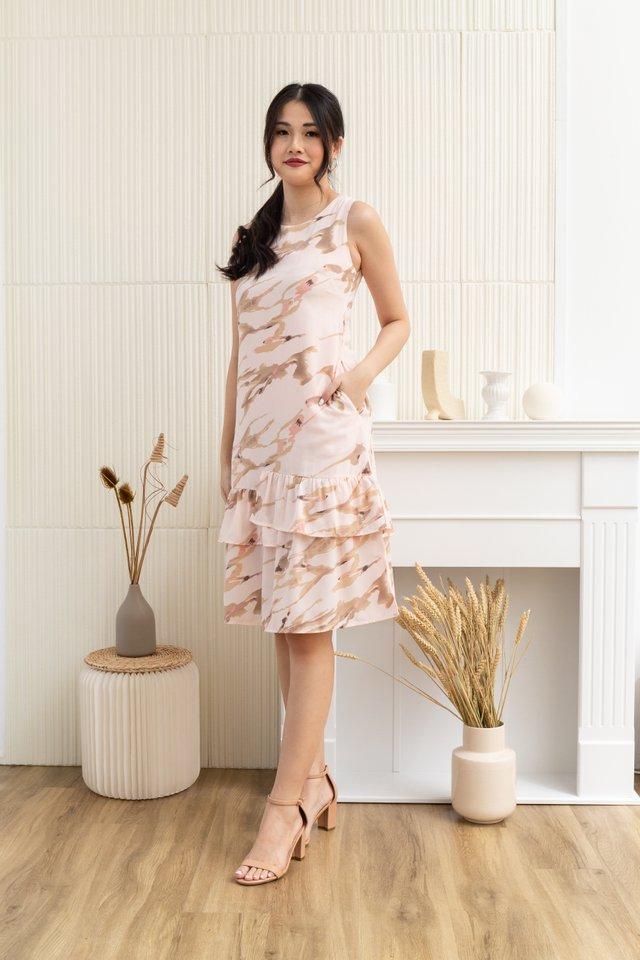 Kaiya Abstract Sleeveless Tiered Ruffled Hem Dress in Pink