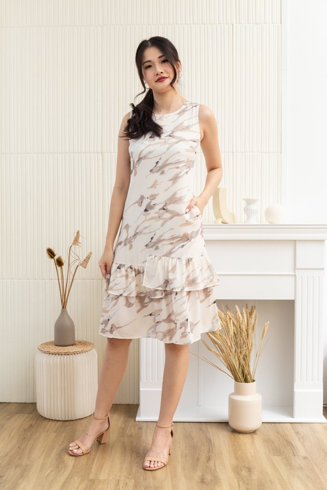 Kaiya Abstract Sleeveless Tiered Ruffled Hem Dress in Cream