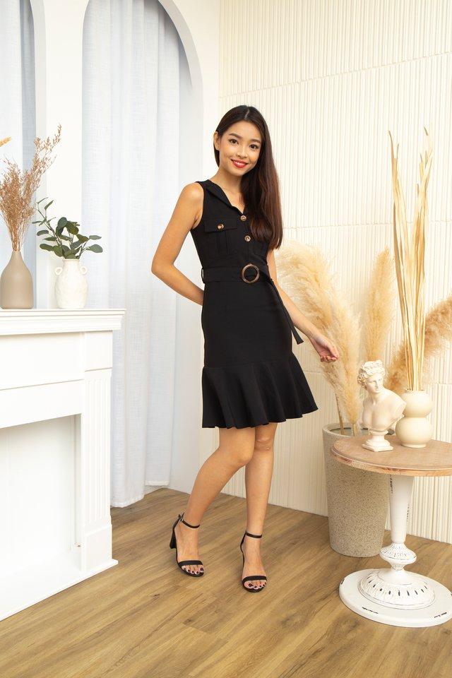 Chantal Safari Ruffles Hem Dress in Black