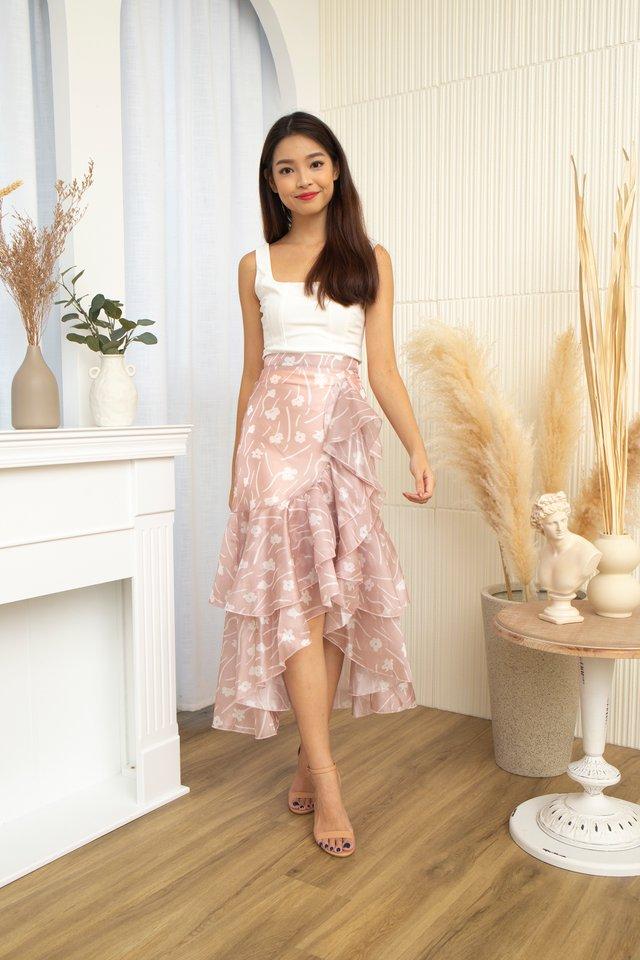 Ceilys Fleur Ruffles Skirt in Dusty Pink