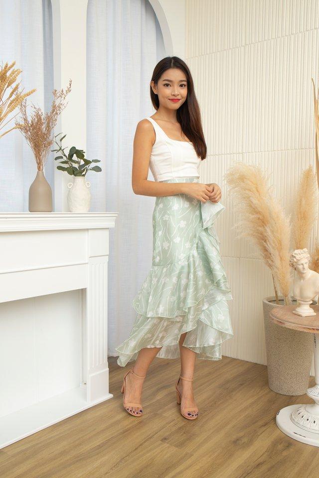 Ceilys Fleur Ruffles Skirt in Mint