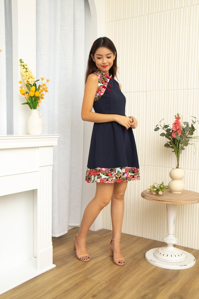 Ichika Peony and Crane Cheongsam Dress with Fabric Face Mask in Navy Blue
