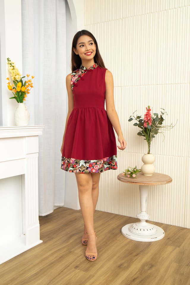 Ichika Peony and Crane Cheongsam Dress with Fabric Face Mask in Wine