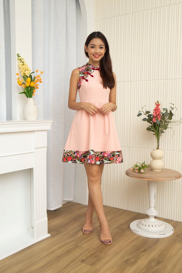 Ichika Peony and Crane Cheongsam Dress with Fabric Face Mask in Pink