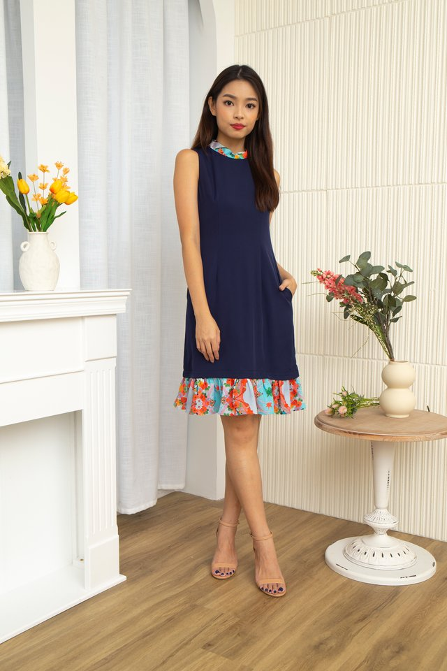 Niko Removable Collar & Exchangeable Ruffle Hem Midi Dress with Fabric Face Mask in Navy Blue