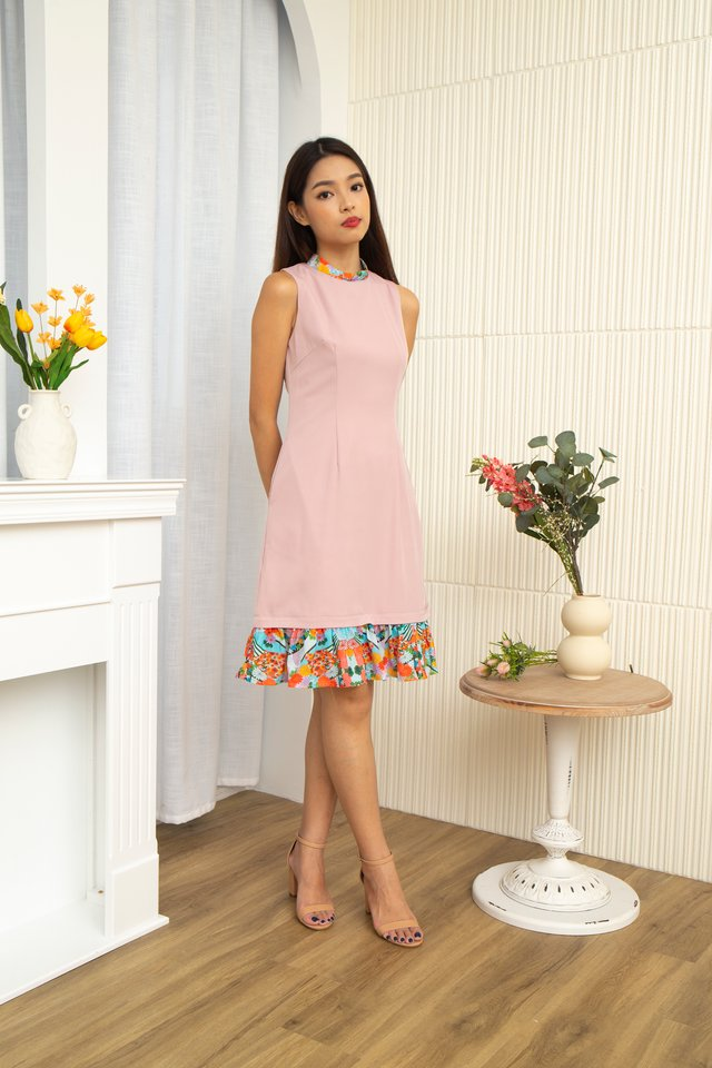 Niko Removable Collar & Exchangeable Ruffle Hem Midi Dress with Fabric Face Mask in Pink