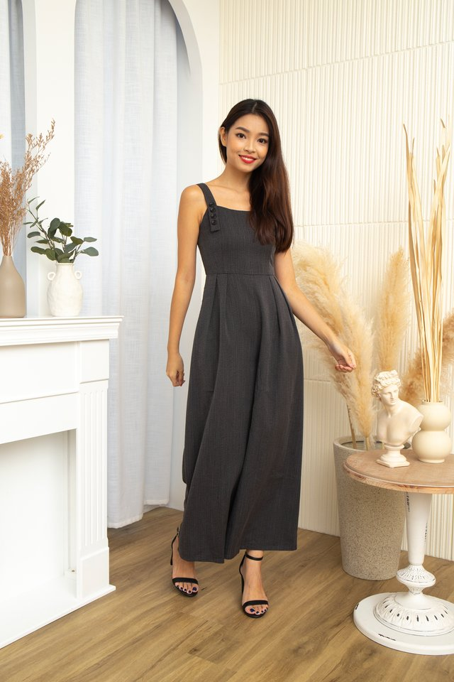 Zane Strips with Faux Buttons Jumpsuit in Black