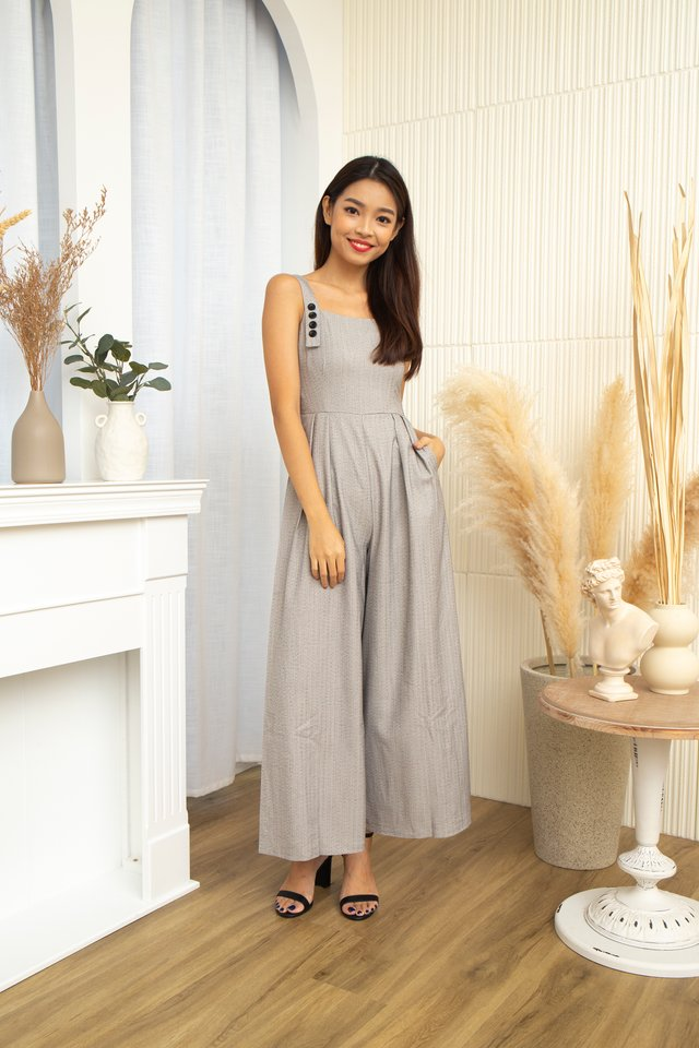 Zane Strips with Faux Buttons Jumpsuit in Grey