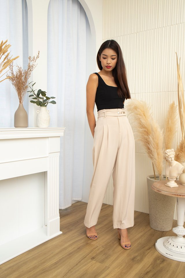 Bastina High Waist Pants With Belt in Beige