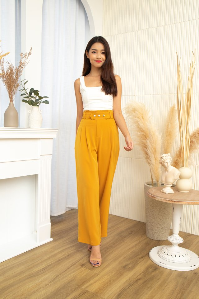 Bastina High Waist Pants With Belt in Mustard
