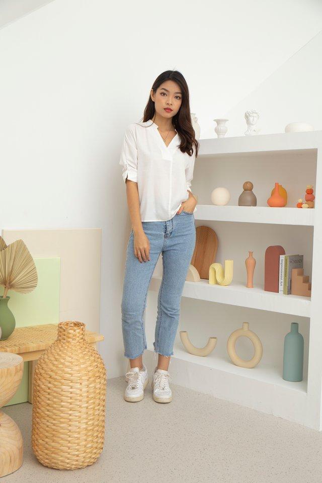Miriam Mandarin Collar V-Neck Blouse in White