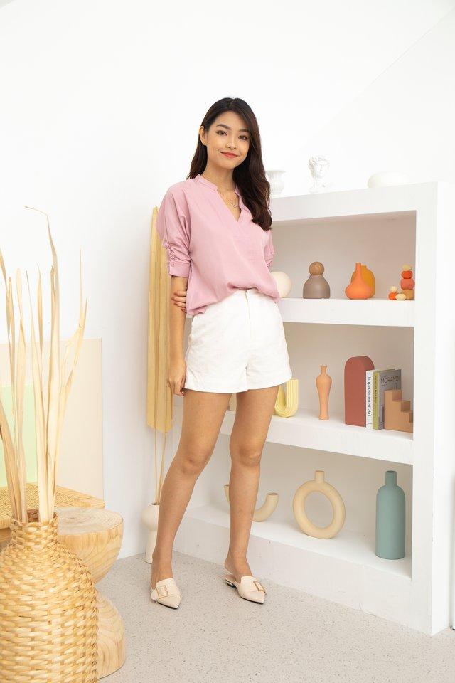 Miriam Mandarin Collar V-Neck Blouse in Pink