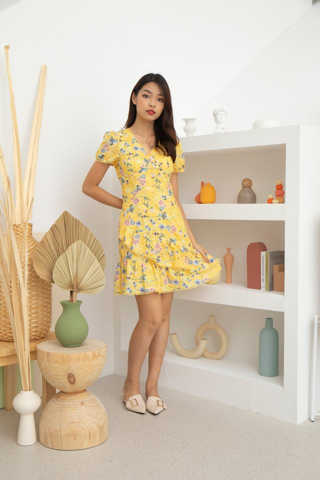 Leilani V-Neck Floral Eyelet Embroidery Dress in Yellow
