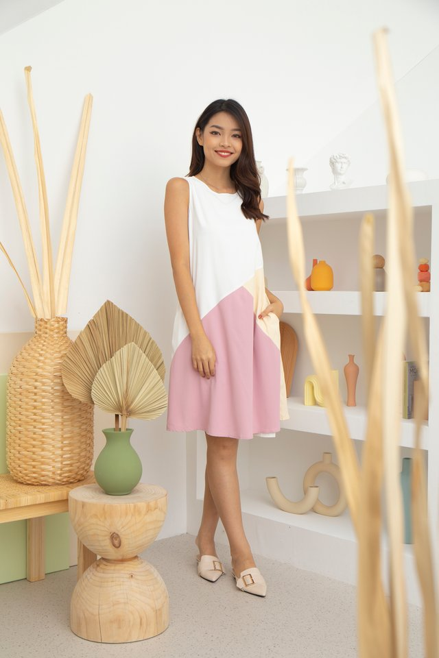 Ginevra Colourblock Reversible Dress in Cream Dairy