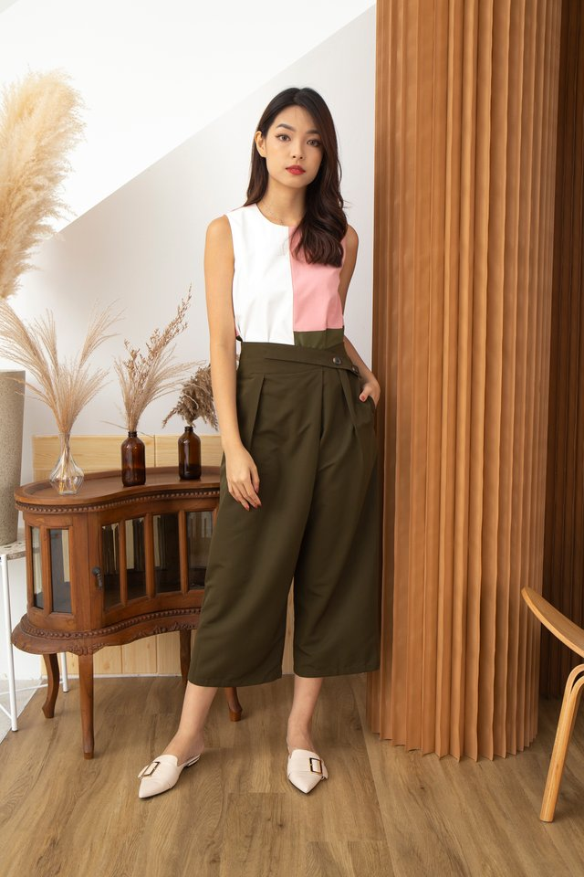 Chiara Criss Cross Button Front Cropped Culottes in Olive