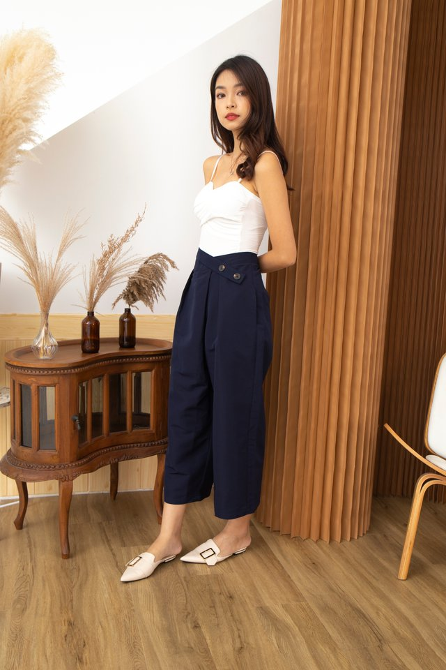 Chiara Criss Cross Button Front Cropped Culottes in Navy Blue