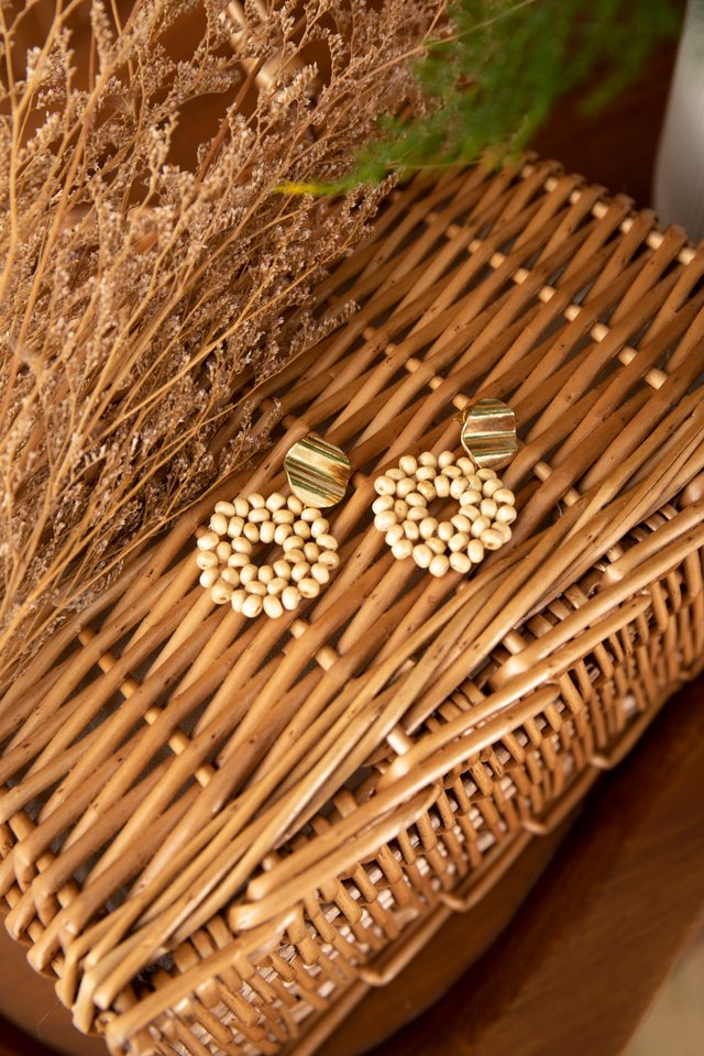 Handmade Geometric Rattan Wooden Beaded Earrings