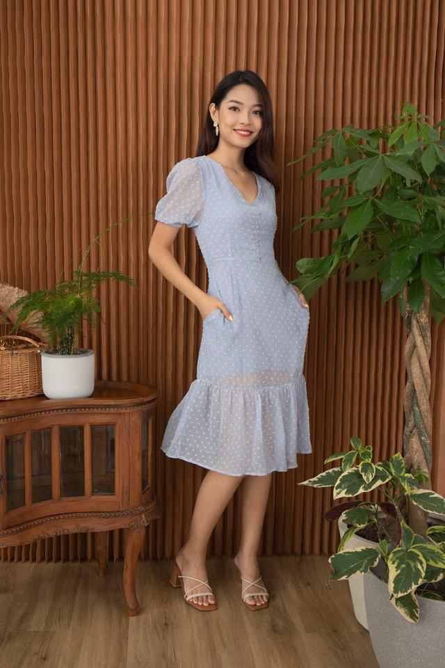 Candace Swiss Dot Dropwaist Hem Dress in Baby Blue
