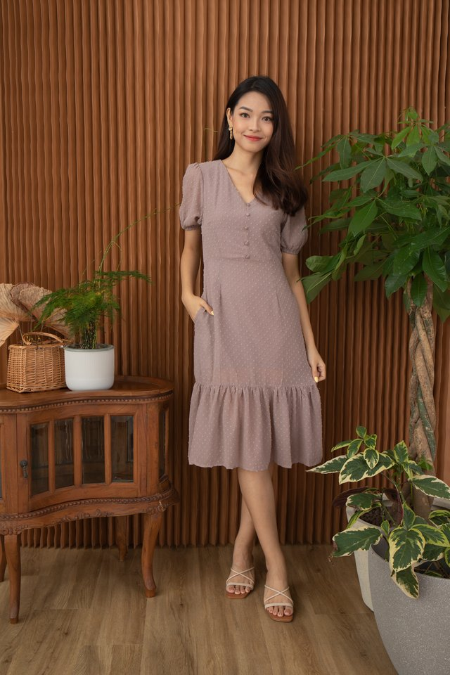 Candace Swiss Dot Dropwaist Hem Dress in Rose Taupe