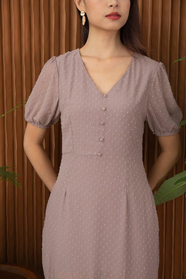 Candace Swiss Dot Dropwaist Hem Dress in Rose Taupe