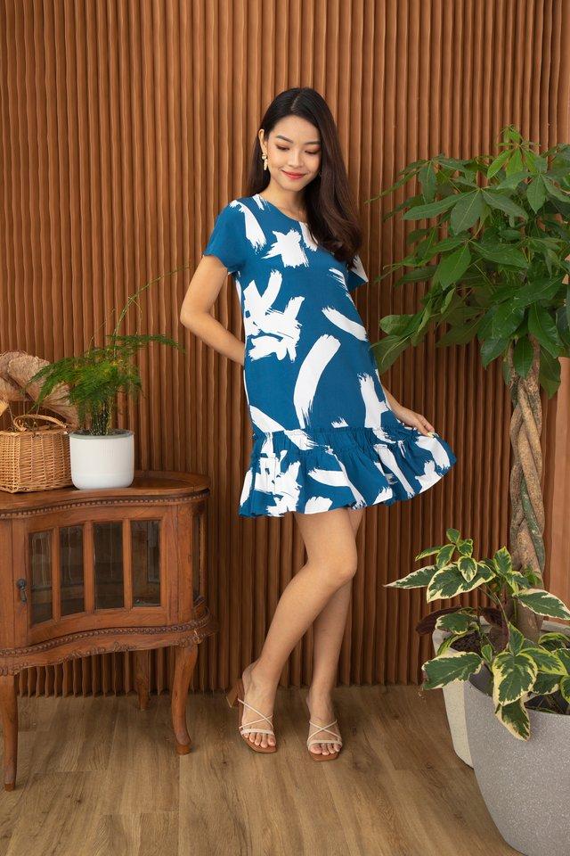 Odette Abstract Brush Stroke Ruffle Hem Dress in Blue