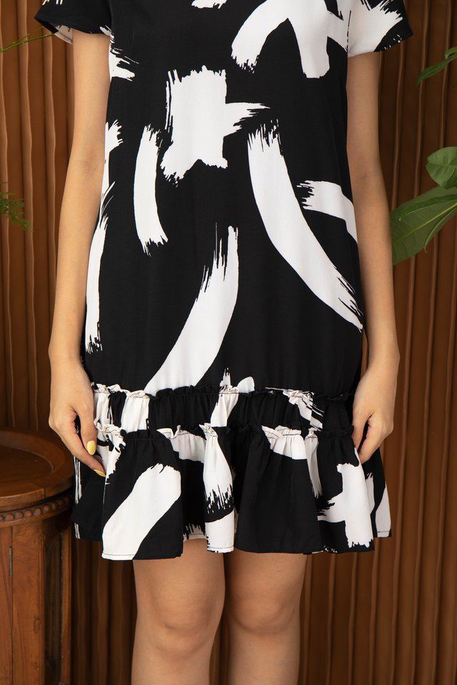 Odette Abstract Brush Stroke Ruffle Hem Dress in Black