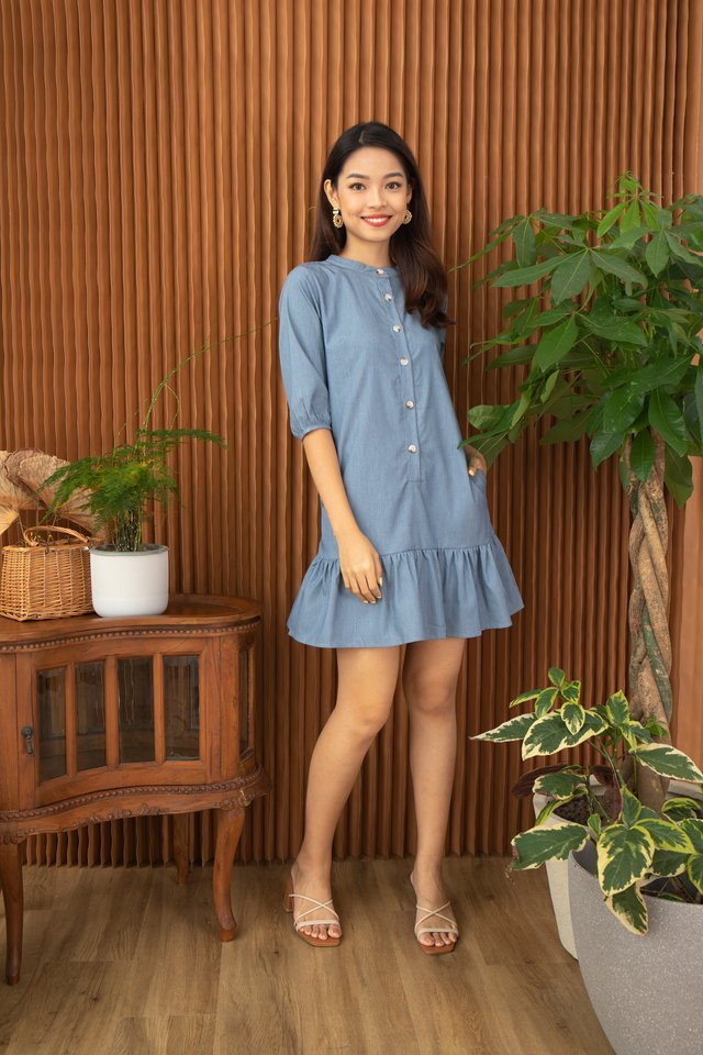 Fenya Mandarin Collar Drop Waist Dress in Denim Blue