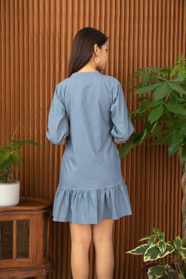Fenya Mandarin Collar Drop Waist Dress in Denim Blue