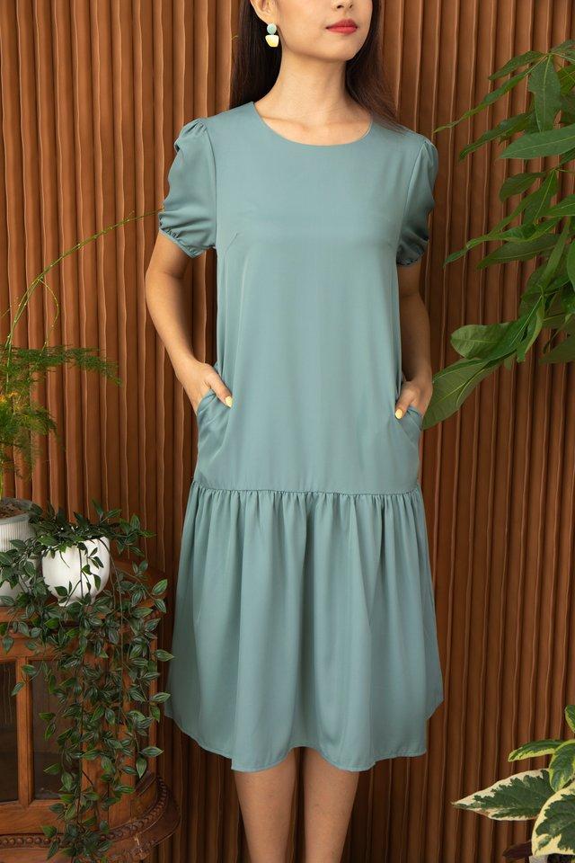 Alviria Puff Sleeve Cascade Dress in Sage