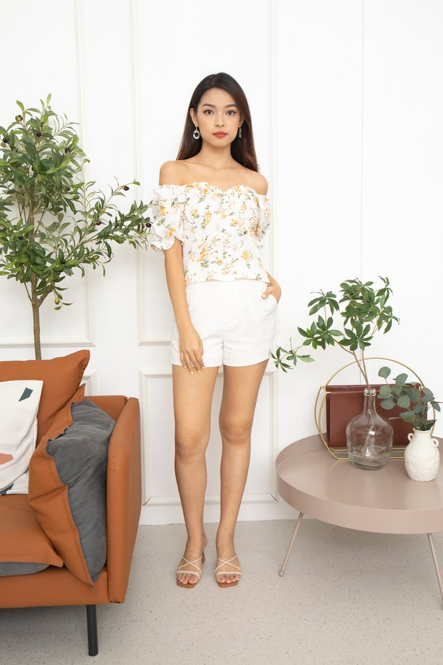Lorelei Two Way Ruffled Blouse in White